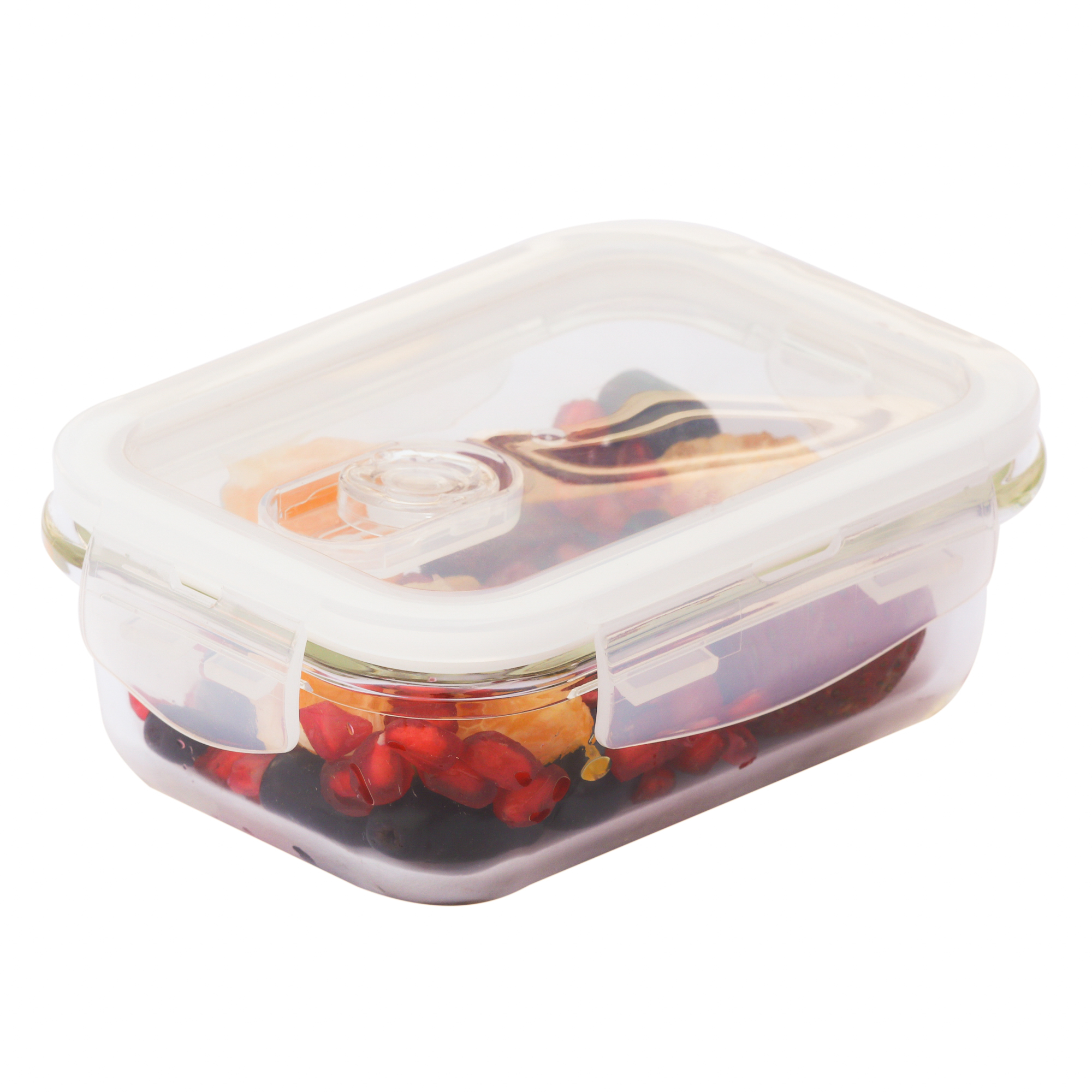 Femora Borosilicate Glass Rectangular Container with Air Vent Lid 400 ML