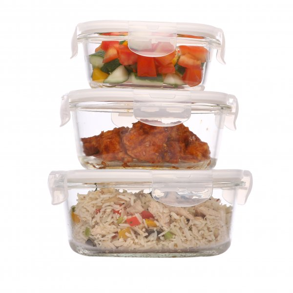 Borosilicate Glass Round Storage Container With Air Vent Lid- 380ML, 580 ML, 940ML, Set Of 3 Pcs